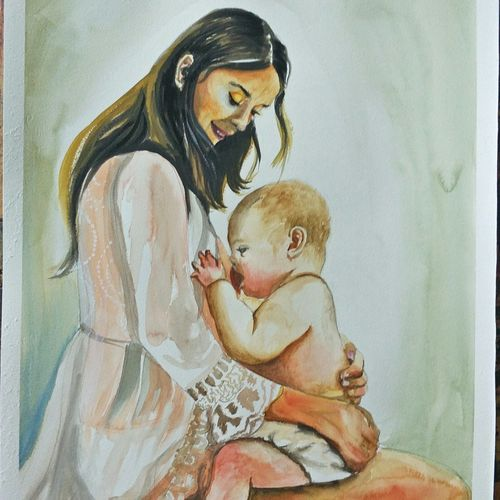 motherhood, 15 x 22 inch, aparna pandey,15x22inch,thick paper,paintings,figurative paintings,impressionist paintings,realism paintings,baby paintings,paintings for bedroom,paintings for kids room,paintings for hospital,paintings for bedroom,paintings for kids room,paintings for hospital,watercolor,paper,GAL02394736595