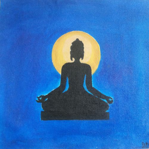 buddha in meditation, 11 x 11 inch, popo singh,buddha paintings,paintings for bedroom,religious paintings,canvas,watercolor,11x11inch,religious,peace,meditation,meditating,gautam,goutam,buddha,blue,moon,shadow,black,sitting,GAL013293660