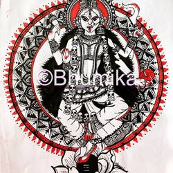goddess kali, 8 x 12 inch, bhumika desai,8x12inch,thick paper,paintings,religious paintings,expressionism paintings,madhubani paintings   madhubani art,pen color,paper,GAL02457736602
