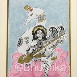 goddess saraswati , 8 x 12 inch, bhumika desai,8x12inch,thick paper,paintings,conceptual paintings,religious paintings,expressionism paintings,illustration paintings,kalamkari painting,paintings for office,paintings for school,paintings for office,paintings for school,pen color,poster color,paper,GAL02457736603