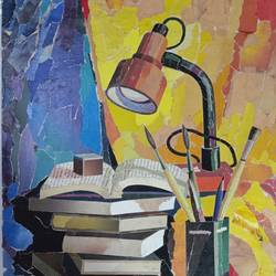 lamp(collage art), 15 x 20 inch, annie artist,15x20inch,cartridge paper,paintings,figurative paintings,mixed media,GAL02486636605