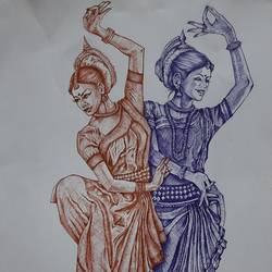 twin dancers, 12 x 18 inch, nathuram  bendkhale,12x18inch,thick paper,drawings,figurative drawings,paintings for living room,paintings for bedroom,pen color,GAL0980636608