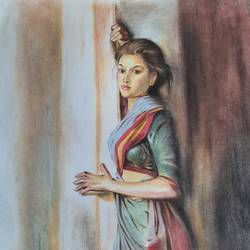 waiting , 18 x 24 inch, nathuram  bendkhale,18x24inch,thick paper,drawings,figurative drawings,paintings for living room,pastel color,GAL0980636609