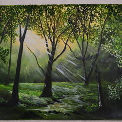 sunray forest, 24 x 18 inch, mohanish rao,24x18inch,oil sheet,paintings,nature paintings | scenery paintings,paintings for dining room,paintings for living room,paintings for bedroom,paintings for office,paintings for kids room,paintings for hotel,paintings for kitchen,paintings for school,paintings for hospital,oil color,GAL02214136615