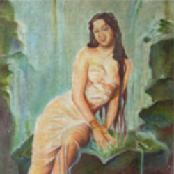a woman bath waterfall, 15 x 22 inch, anand vedpathak,15x22inch,canvas,figurative paintings,paintings for living room,paintings for hotel,paintings for living room,paintings for hotel,oil color,GAL02513836616