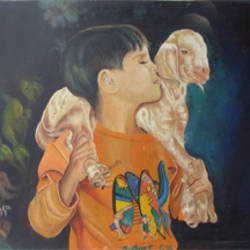 sensetive mood hutbaby  & boy, 26 x 22 inch, anand vedpathak,26x22inch,hardboard,figurative paintings,paintings for living room,paintings for hotel,paintings for living room,paintings for hotel,enamel color,GAL02513836618