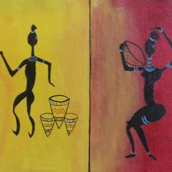 tribal wall  in dancing mode, 12 x 24 inch, popo singh,paintings for dining room,folk art paintings,canvas,watercolor,12x24inch,GAL013293662