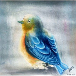indigo bird, 9 x 9 inch, garima gupta,9x9inch,canvas,paintings,wildlife paintings,realism paintings,realistic paintings,paintings for dining room,paintings for living room,paintings for bedroom,paintings for office,paintings for bathroom,paintings for kids room,paintings for hotel,paintings for kitchen,paintings for school,paintings for hospital,oil color,GAL02507036623