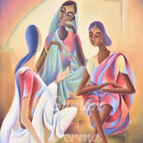 gossip, 22 x 30 inch, suman verma,22x30inch,canvas,abstract expressionism paintings,paintings for living room,paintings for office,paintings for hotel,paintings for living room,paintings for office,paintings for hotel,oil color,GAL02514636629