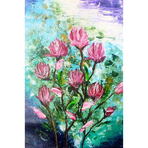 lillies, 14 x 20 inch, garima gupta,14x20inch,canvas,paintings,abstract paintings,flower paintings,impressionist paintings,paintings for dining room,paintings for living room,paintings for bedroom,paintings for office,paintings for bathroom,paintings for kids room,paintings for hotel,paintings for kitchen,paintings for school,paintings for hospital,acrylic color,GAL02507036632