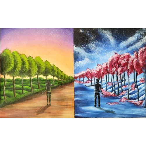 the opposites, 30 x 19 inch, garima gupta,30x19inch,canvas,paintings,figurative paintings,landscape paintings,modern art paintings,conceptual paintings,nature paintings   scenery paintings,love paintings,paintings for dining room,paintings for living room,paintings for bedroom,paintings for office,paintings for hotel,paintings for hospital,acrylic color,GAL02507036634
