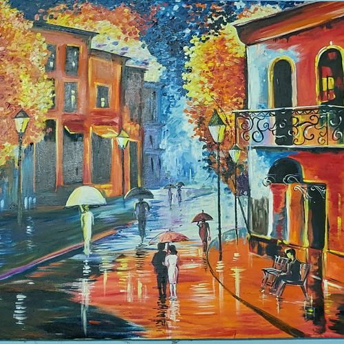 an autumn evening , 48 x 36 inch, sarika kanaujia,48x36inch,canvas,paintings,cityscape paintings,paintings for living room,fabric,oil color,GAL02481136636