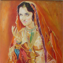 mujra, 18 x 22 inch, anand vedpathak,18x22inch,hardboard,paintings,figurative paintings,paintings for living room,paintings for hotel,enamel color,GAL02513836638