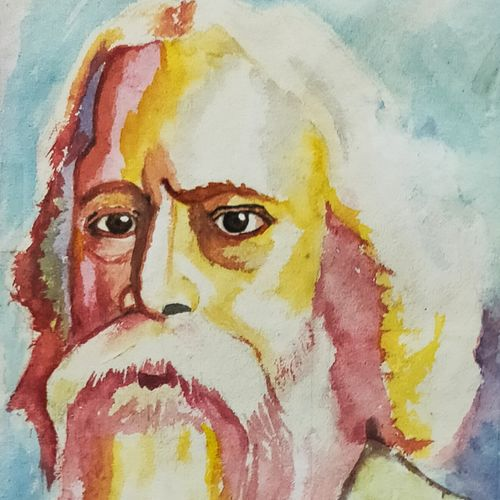 rabindra nath tagore, 8 x 12 inch, subhojit  naskar,8x12inch,handmade paper,paintings,portrait paintings,paintings for dining room,paintings for living room,paintings for bedroom,paintings for office,paintings for kids room,paintings for hotel,paintings for school,paintings for hospital,paintings for dining room,paintings for living room,paintings for bedroom,paintings for office,paintings for kids room,paintings for hotel,paintings for school,paintings for hospital,watercolor,GAL02303936639