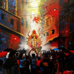 rainy day in durga puja, 30 x 30 inch, arjun das,30x30inch,canvas,paintings,cityscape paintings,street art,contemporary paintings,paintings for dining room,paintings for living room,paintings for bedroom,paintings for office,paintings for hotel,paintings for school,paintings for hospital,acrylic color,GAL011236642