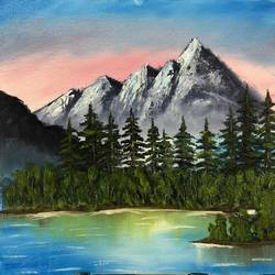 mountain river landscape, 16 x 12 inch, neha upadhye,16x12inch,canvas,paintings,landscape paintings,nature paintings | scenery paintings,paintings for dining room,paintings for living room,paintings for bedroom,paintings for office,paintings for kids room,paintings for hotel,oil color,GAL02508736655