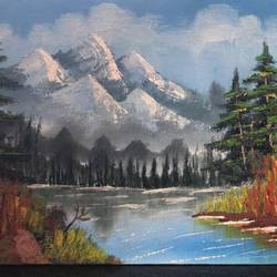 snow clad mountains, 16 x 12 inch, neha upadhye,16x12inch,canvas,paintings,landscape paintings,nature paintings | scenery paintings,paintings for dining room,paintings for living room,paintings for bedroom,paintings for office,paintings for kids room,paintings for hotel,oil color,GAL02508736657
