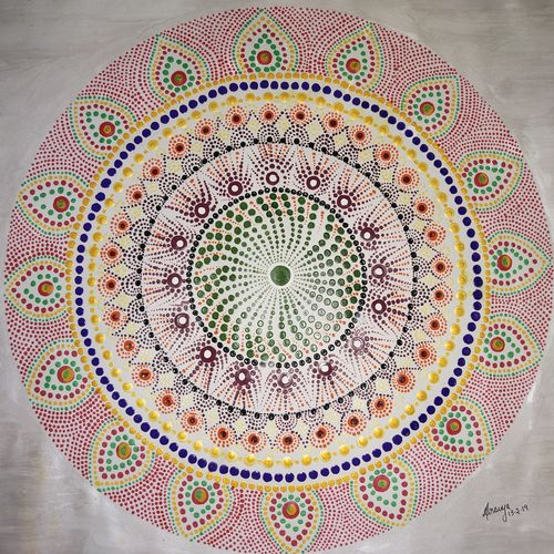 dot mandala, 13 x 10 inch, sravya varada,13x10inch,paper,paintings,religious paintings,paintings for living room,paintings for bedroom,paintings for kids room,acrylic color,paper,GAL02516036659