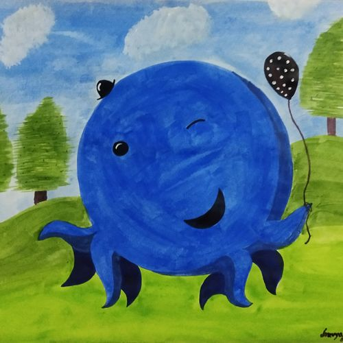 oswald, 13 x 10 inch, sravya varada,13x10inch,paper,paintings,children paintings,kids paintings,paintings for kids room,acrylic color,paper,GAL02516036660