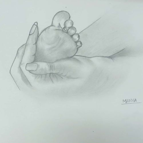sketch - baby foot, 8 x 11 inch, manva bhadang,8x11inch,drawing paper,drawings,paintings for living room,paintings for bedroom,paintings for kids room,paintings for hospital,figurative drawings,paintings for living room,paintings for bedroom,paintings for kids room,paintings for hospital,pencil color,graphite pencil,paper,GAL02519436666
