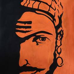shivaji maharaj, 8 x 11 inch, manva bhadang,8x11inch,drawing paper,paintings,portrait paintings,paintings for living room,paintings for bedroom,paintings for office,paintings for kids room,paintings for hotel,paintings for school,acrylic color,pen color,paper,GAL02519436668