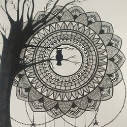 mandala art, 8 x 11 inch, manva bhadang,8x11inch,drawing paper,drawings,abstract drawings,paintings for dining room,paintings for living room,paintings for bedroom,paintings for office,paintings for kids room,paintings for hotel,pen color,ball point pen,paper,GAL02519436675