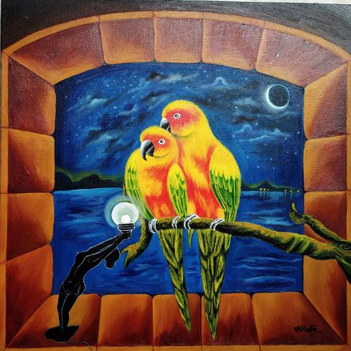 the gloaming night, 18 x 18 inch, salisalima ratha,18x18inch,canvas,paintings,contemporary paintings,paintings for dining room,paintings for living room,paintings for bedroom,paintings for office,paintings for kids room,paintings for hotel,oil color,GAL02519836687