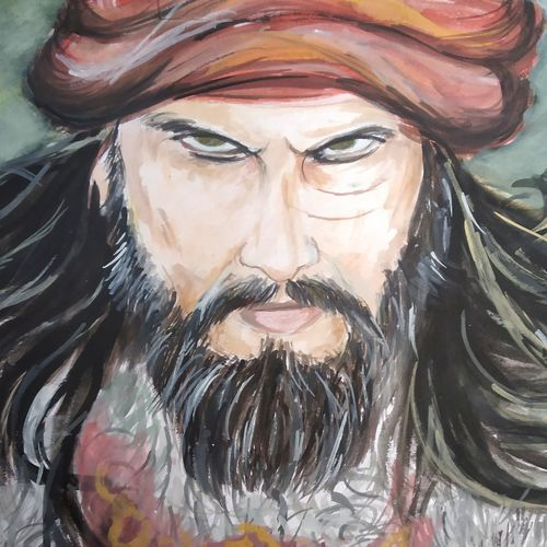 khilji, 10 x 20 inch, sourabh karikatti,10x20inch,thick paper,paintings,portrait paintings,paintings for living room,paintings for living room,poster color,watercolor,GAL02521436701
