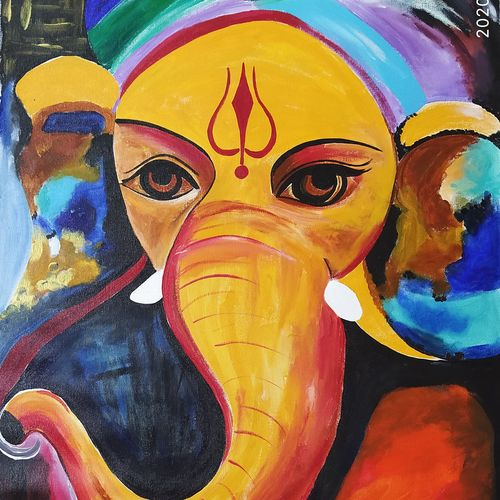 mangal murti, 23 x 32 inch, rony sinha,23x32inch,canvas,paintings,ganesha paintings | lord ganesh paintings,paintings for dining room,paintings for living room,paintings for bedroom,paintings for office,paintings for kids room,paintings for hotel,paintings for hospital,acrylic color,GAL01225736708