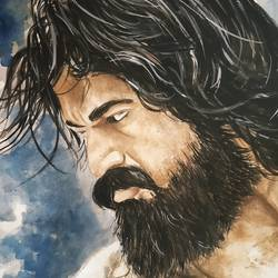 kgf, 11 x 15 inch, sourabh karikatti,11x15inch,thick paper,paintings,portrait paintings,paintings for bedroom,poster color,paper,GAL02521436711