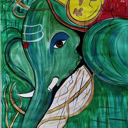 ek dantta, 33 x 47 inch, rony sinha,33x47inch,canvas,paintings,ganesha paintings | lord ganesh paintings,paintings for dining room,paintings for living room,paintings for bedroom,paintings for office,paintings for kids room,paintings for hotel,paintings for kitchen,paintings for school,paintings for hospital,acrylic color,GAL01225736714