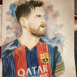 messi, 15 x 22 inch, sourabh karikatti,15x22inch,thick paper,portrait paintings,realistic paintings,paintings for living room,paintings for bedroom,paintings for school,paintings for living room,paintings for bedroom,paintings for school,poster color,watercolor,paper,GAL02521436715