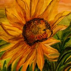 #ray of hope- sunflower!!, 12 x 14 inch, deepti  sinha,12x14inch,thick paper,flower paintings,paintings for hospital,paintings for hospital,watercolor,GAL02521136721