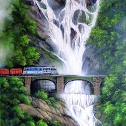 water fall, 24 x 32 inch, kumar ranadive,24x32inch,canvas,landscape paintings,nature paintings | scenery paintings,paintings for living room,paintings for living room,oil color,GAL01956936722