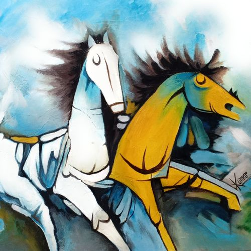 horse, 24 x 20 inch, kumar ranadive,24x20inch,wood board,paintings,wildlife paintings,animal paintings,paintings for living room,acrylic color,GAL01956936723