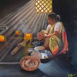village life, 17 x 20 inch, kumar ranadive,17x20inch,hardboard,paintings,figurative paintings,realism paintings,realistic paintings,paintings for living room,paintings for kitchen,oil color,GAL01956936724
