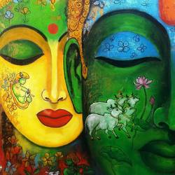 love saga #3, 24 x 36 inch, arjun das,24x36inch,canvas,paintings,radha krishna paintings,paintings for dining room,paintings for living room,paintings for office,paintings for hotel,paintings for hospital,acrylic color,GAL011236725
