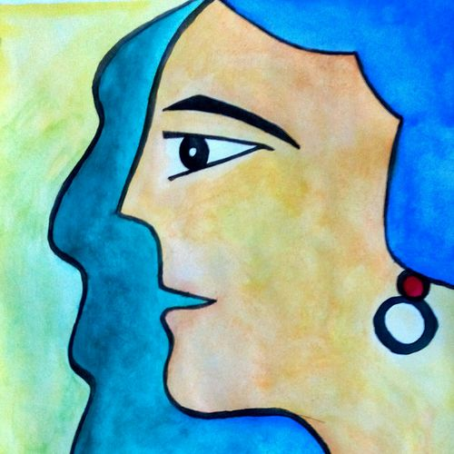 woman modern, 9 x 11 inch, partha bhattacharya,figurative paintings,paintings for living room,thick paper,watercolor,9x11inch,GAL013473673