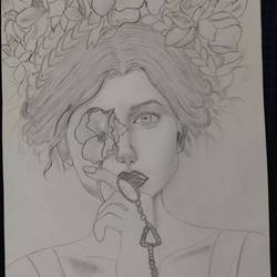 flowers, 11 x 16 inch, aashna nagar,11x16inch,drawing paper,drawings,figurative drawings,paper,GAL02526536738