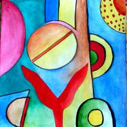modern, 11 x 9 inch, partha bhattacharya,abstract paintings,paintings for living room,drawing paper,watercolor,11x9inch,GAL013473674