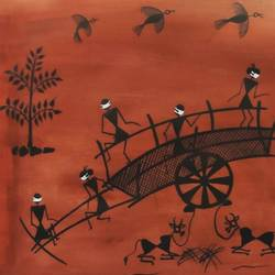 warli painting, 20 x 20 inch, pallavi borse,20x20inch,canvas,paintings,warli paintings,paintings for dining room,paintings for living room,paintings for bedroom,paintings for office,paintings for hotel,paintings for school,acrylic color,GAL02525336742