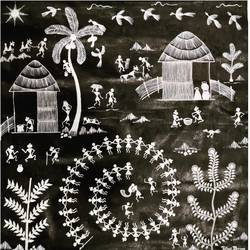 warli painting, 24 x 36 inch, pallavi borse,24x36inch,canvas,paintings,warli paintings,paintings for dining room,paintings for living room,paintings for bedroom,paintings for office,paintings for kids room,paintings for hotel,paintings for school,paintings for hospital,acrylic color,GAL02525336743