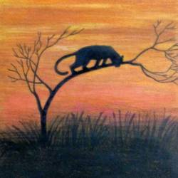 wild sunset evening , 12 x 9 inch, partha bhattacharya,nature paintings,paintings for living room,thick paper,pastel color,12x9inch,GAL013473675Nature,environment,Beauty,scenery,greenery,trees,grass,sunset,black panther,jaguar