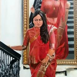 the reflection , 24 x 36 inch, shankha mitra,24x36inch,canvas,paintings,figurative paintings,conceptual paintings,realistic paintings,paintings for dining room,paintings for living room,paintings for office,paintings for hotel,acrylic color,GAL02246936757