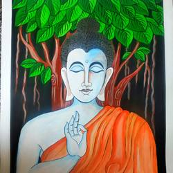 buddha, 22 x 28 inch, sudipta jha,22x28inch,thick paper,paintings,buddha paintings,paintings for living room,paintings for bedroom,poster color,GAL02420236763