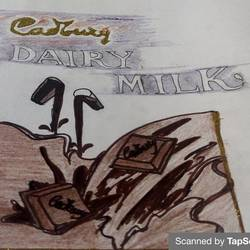 painting : golden touch dairy milk, 8 x 12 inch, manva bhadang,8x12inch,drawing paper,paintings,abstract paintings,paintings for dining room,paintings for living room,paintings for bedroom,paintings for kids room,paintings for hotel,pencil color,graphite pencil,paper,GAL02519436768