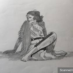 sketch: lonely moment, 8 x 12 inch, manva bhadang,8x12inch,drawing paper,drawings,figurative drawings,paintings for dining room,paintings for living room,paintings for bedroom,paintings for kids room,paintings for hotel,charcoal,graphite pencil,paper,GAL02519436769