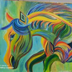 d magical horse, 17 x 24 inch, rony sinha,17x24inch,canvas,paintings,abstract paintings,conceptual paintings,paintings for living room,acrylic color,GAL01225736770