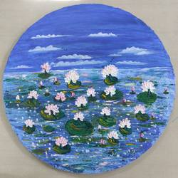 white water lily on a round shape woodboard, 20 x 20 inch, nidhi choudhari,20x20inch,wood board,paintings,flower paintings,landscape paintings,paintings for bedroom,paintings for office,paintings for hotel,acrylic color,GAL01583536772