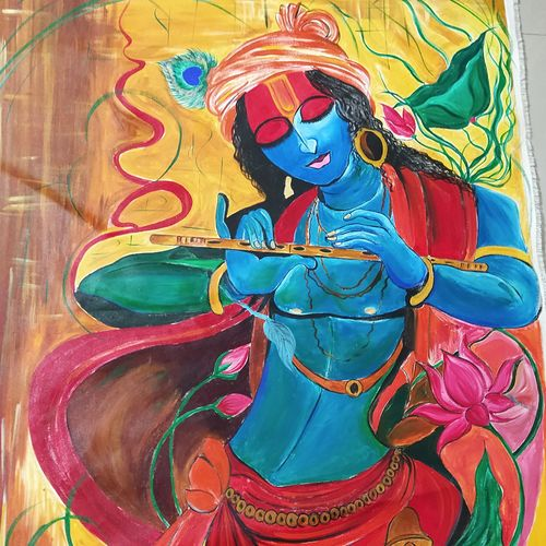 d krishna, 94 x 130 inch, rony sinha,94x130inch,canvas,figurative paintings,religious paintings,expressionism paintings,paintings for dining room,paintings for living room,paintings for bedroom,paintings for office,paintings for kids room,paintings for dining room,paintings for living room,paintings for bedroom,paintings for office,paintings for kids room,acrylic color,GAL01225736774